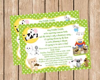 Gender Neutral Nursery Rhyme Baby Shower Invitation