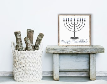 Happy Hanukkah, Happy Hanukkah Sign, Menorah, Hanukkah Menorah, Hanukkah Decor, Hanukkah Decorations, Jewish Decor, Holiday Signs