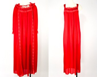 60s Long Nightgown Red, Dressing Gown Set, Vintage Valentines Lingerie Set, Getting Ready Robe, Glencraft Lingerie, Full Length Robe Medium