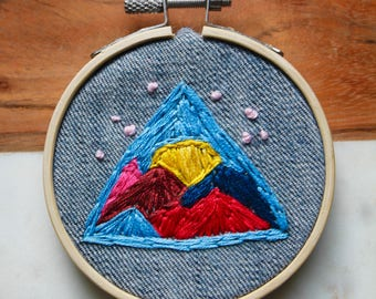Wall Hanging - Mountain Hoop Art - Embroidered Decor -Colorful Birthday Gift