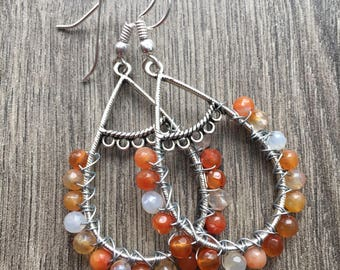 Boho Vibe Orange Agate Dangle Earrings Summer Vibe Orange Agate