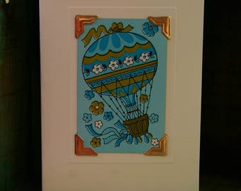 Handmade greetings/birthday card. Genuine vintage playing card, 1970s - hot air balloon - blue - retro