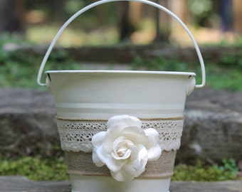 Flower Girl Basket Pail Linen and Lace, Rustic Shabby Chic Wedding