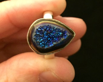 sterling silver ring with titanium blue drusy, 8.33 carat, size 7