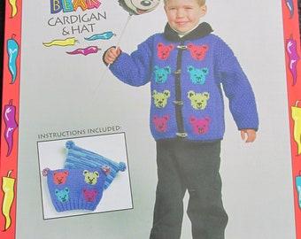 PB88 Bernat No 1311 Northern Child Kids Teddy Bear Knit Cardigan & Hat Patterns Craft Book