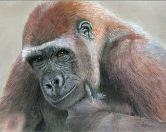 Bruce -  Limited Edition 16 x 12 Giclee Print by UK artist Angela Heiron - mounted on board