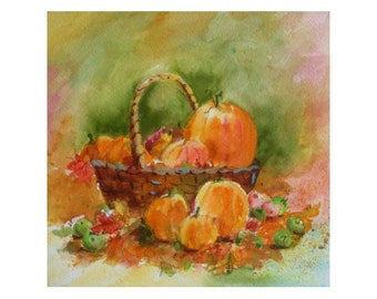 Original Watercolor * BASKET WITH PUMPKINS * Autumn / Fall Small Art Format by Rodriguez