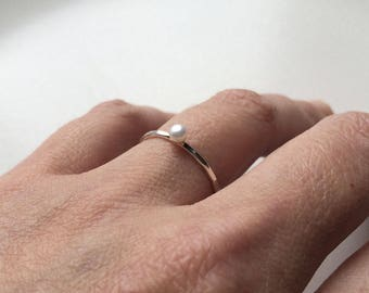Pearl ring - tiny pearl ring - Sterling silver and white pearl ring - genuine pearl - dainty pearl ring - stacking ring - freshwater - 3.5mm