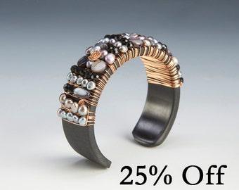 Handmade wooden bangle bracelet with grey fresh water pearls   Mango Wood Pearl Beaded Bracelet   Fresh Water Pearl Bracelet   25% OFF SALE