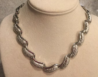 Trifari Choker Necklace, Silver tone, Vintage Jewelry
