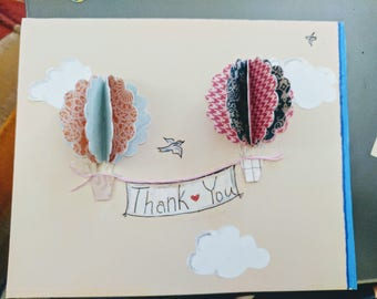 POP-UP Hot Air Balloon Thank You Cards (8 per order)