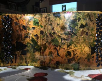 Art Glass Panel – Amber S Curve with Green and Purple Fracture Glass and Dichroic Accents