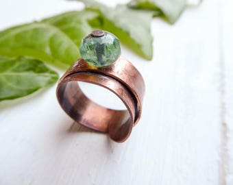 Copper band ring, Picasso Checks beads ring, Statement Band Rings, Green Crystal, gift for her, gift idea, for mom, for auntie stone ring