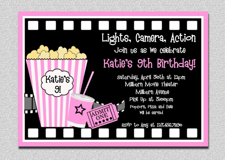 Movie Birthday Invitations Pink Movie Night Birthday Party