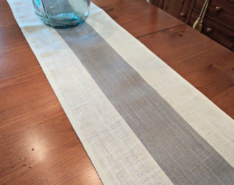 Gray and Cream Table Runner Burlap Table Runner Gray Home Decor Two Toned Table Runner Beachy Home Decor Modern Rustic Table Scarf