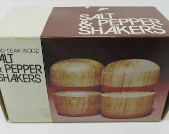 Teak Wood Salt & Pepper Shakers by Gailstyn Sutton 70's New in Box