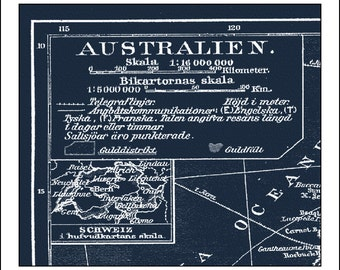 View blueprint maps by mondomappa on etsy australia map map of australia sydney perth blueprint map world map malvernweather Images