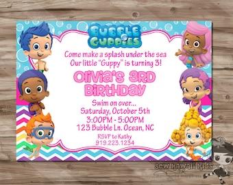 BUBBLE GUPPIES Birthday Invitation, Bubble Guppies Birthday Invite, Bubble Guppies Invitation, Invite - Digital Printable, JPG File