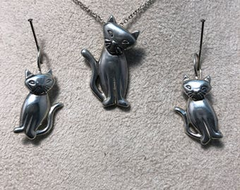 Sterling Silver Cat Earring and Pendant Set