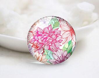 10mm 12mm 14mm 16mm 18mm 20mm 25mm 30mm Handmade Round Photo Glass Cabochon-Flower (P1422)