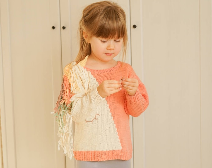 KNITTING PATTERN unicorn sweater Flynn with a horn and mane (toddler and kids sizes)