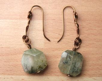 Earrings. A pair of faceted Prehnite antique bronze earrings. 63mm . Freeform design. Art jewellery.