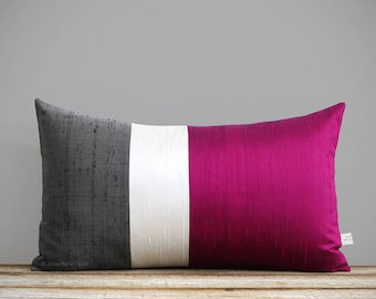 Silk Color Block Pillow Cover in Fuchsia, Cream + Charcoal Gray by JillianReneDecor, Luxury Gift for Her, Hot Pink Magenta (12x20 or 20x20)