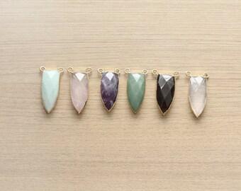 1 pcs of Geometric Gemstone Pendant With Copper Gold Plated Pendant - Gemstone Pendants