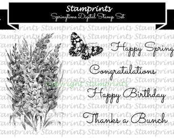 Digital Stamp Set - Springtime  (by Stamprints).Printable Vintage Images. Coloring Art.Sentiments