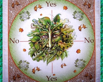 Green Man Scrying Mat, Dowsing wiccan Magic Divination, fairy gift