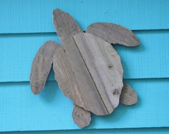 Sea turtle made of recycled wood, seaturtle