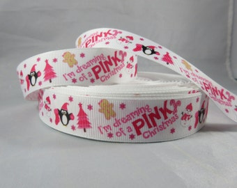 "Im dreaming of a pink christmas ribbon, Snowman Christmas ribbon, Christmas 7/8"" Ribbon by the yard, RN15370"