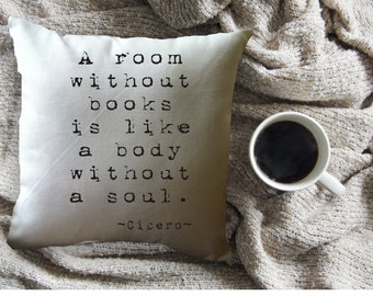 a room without books quote throw pillow cover, 14 x 14, white cotton