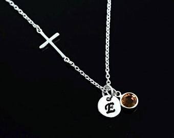 Small Sterling Silver side ways Cross Necklace, Birthstone and Initial Necklace . Sideways Cross initial Birthstone Necklace