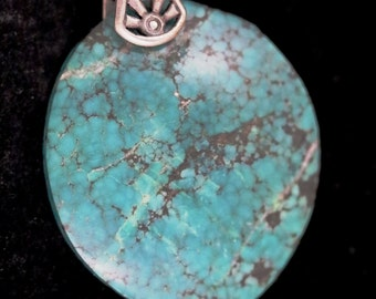 Vintage Turquoise pendant, silver sunrays bail 56ct