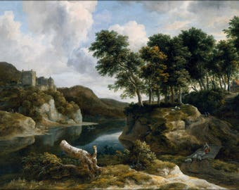Poster, Many Sizes Available; Jacob Van Ruisdael River Landscape With A Castle On A High Cliff