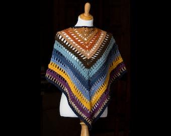 Women's Crocheted Scarf | Crochet Triangle Shawl | Multicolor Triangle Crochet Wrap