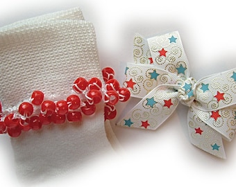Kathy's Beaded Socks - Silver Swirled Stars Socks and Hairbow, girls socks, red socks, pony bead socks, school socks, star socks