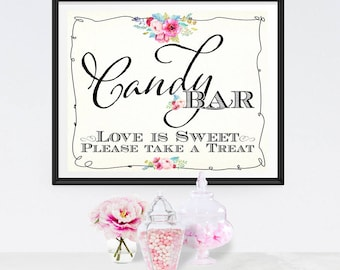 Candy Bar Poster - INSTANT DOWNLOAD - Wedding Love is Sweet Sign, Engagement, Anniversary, Buffet, Sweets, Treats, Reception, Decoration