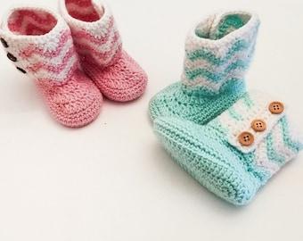 Crochet baby booties, Chevron baby booties, baby girl booties, baby slippers, baby shower gift, newborn girl booties, pink crochet baby