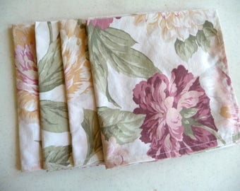 Handmade Napkins, Cloth Napkins, Fabric Napkins, Table Napkins, Large Flowers, Recycled Fabric, Unique Napkins, Cottage Chic, Shabby Decor