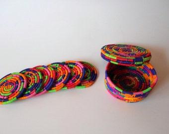 Coaster, Woven coasters, natural coasters, colorful coasters, kitchen décor, table décor, fiber coaster, handmade coaster, drink coaster
