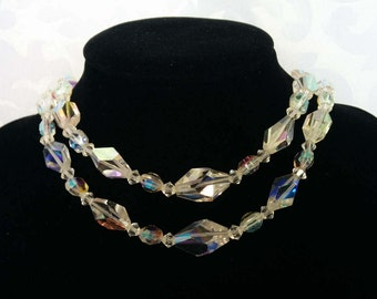 Aurora Borealis Double Strand Choker Necklace, Aurora Borealis Necklace, Crystal Necklace, Crystal Choker
