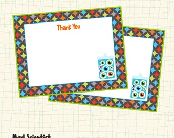 Science Boys Printable FLAT THANK YOU'S Instant Download