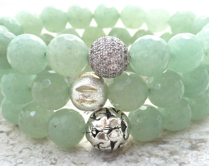 Green Aventurine Beaded Bracelet- Aventurine Gemstone Bracelet- Women's Green Bracelet- Prosperity Bracelet- Mothers Day Gift- Graduation