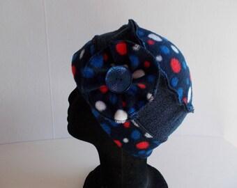 Hat CAP in Navy Blue fleece and polka dots