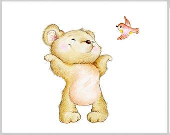 Teddy Bear Nursery Art Print, Children Wall Decor, Kids Wall Art, Baby Room Wall Art, Animal Illustration, Children Art