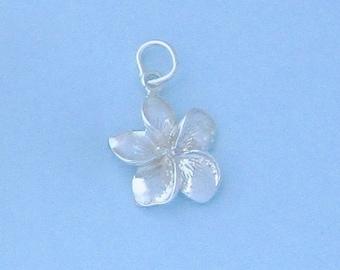 Sterling Silver Plumeria Hawaiian Flower Charm / Pendant, 3D