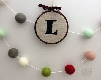 Initial ornament, Letter ornament, Stocking tag, Stocking stuffer, Gift tag, Personalized Gift, Gift for Her, Gift for Him, Hostess Gift