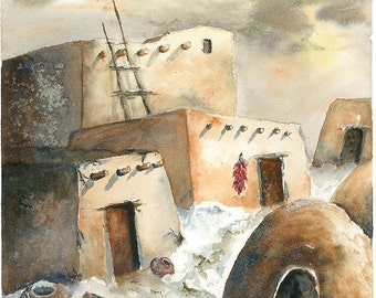 "Native American Southwest High Desert Painting, Pueblo Life, Print of Original  Watercolor Painting 6x8"" Decor"